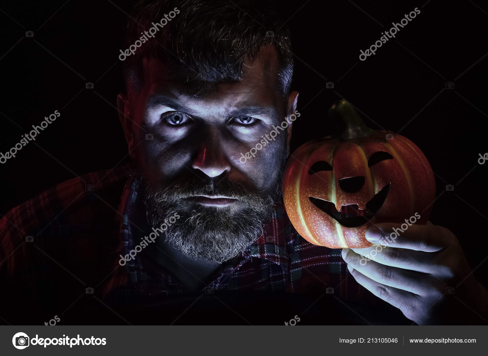Halloween Maan.Halloween Man Holding Pumpkin Stock Photo C Tverdohlib Com