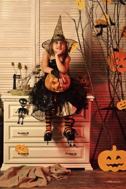 Kid in witch hat and costume holds jack o lantern.