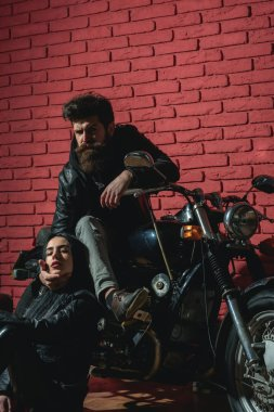 road trip. road trip with sexy couple in love. road trip on motorbike. biker couple has road trip. traveling.
