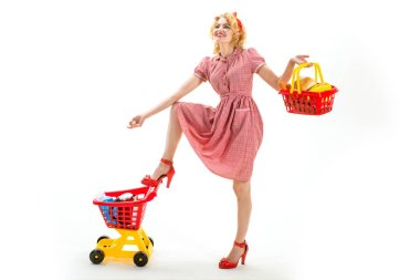 Quality time. saving on purchase. Shopping online is easy. Your order is ready. retro woman hurrying to buy products. happy girl take evetything under control. multifunctional housewife go shopping