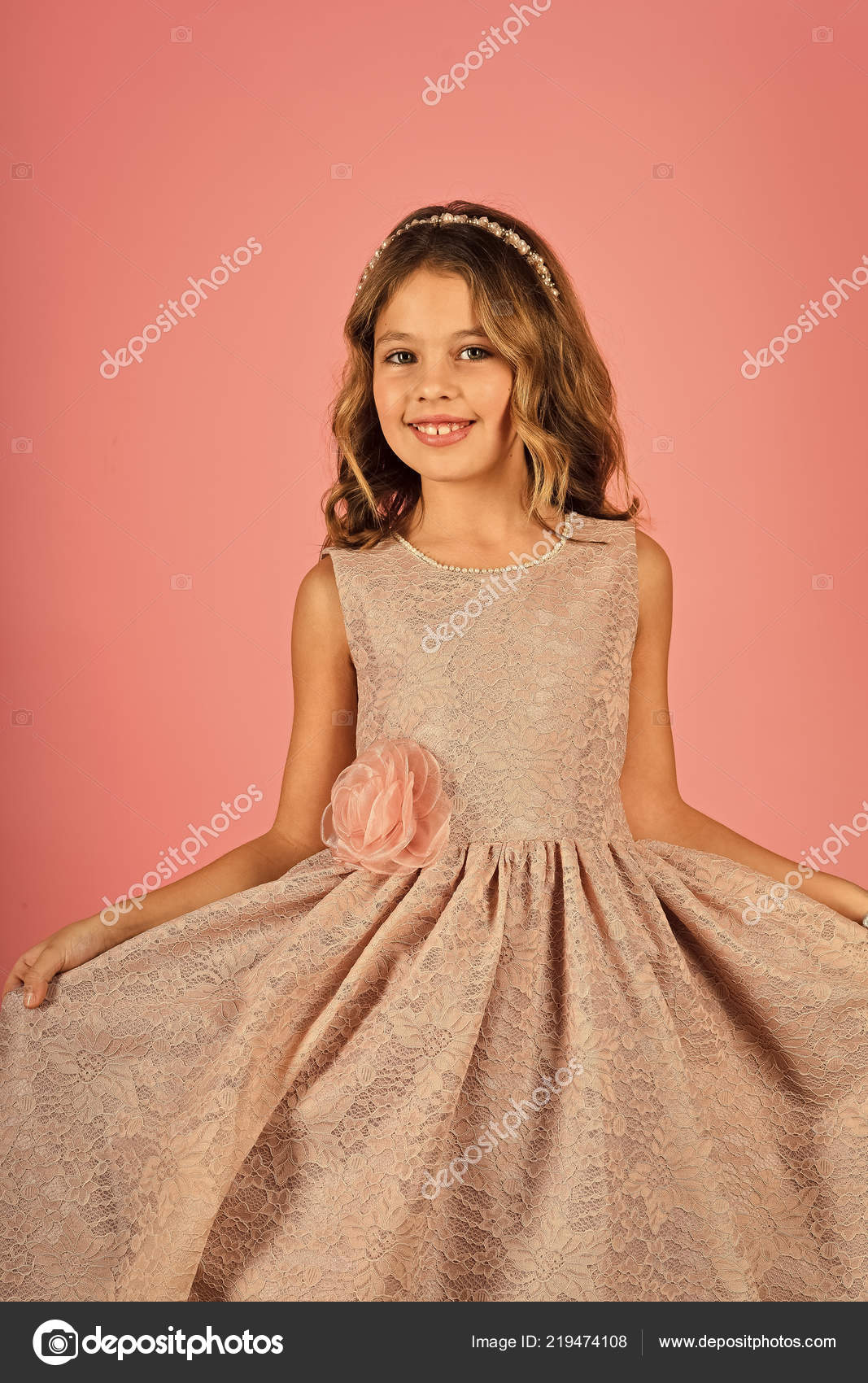 Little Girl In Fashionable Dress Prom Little Girl Or Kid In Prom