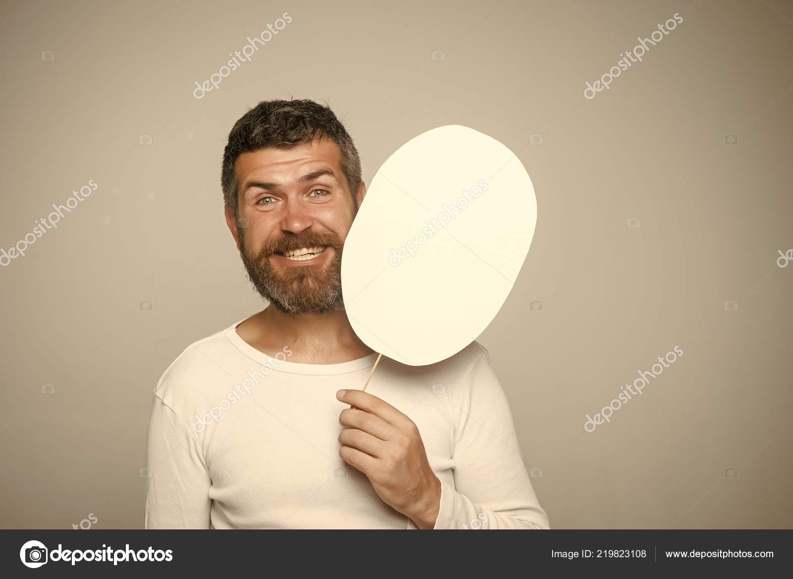 hipster with happy face hold paper nameplate stock photo