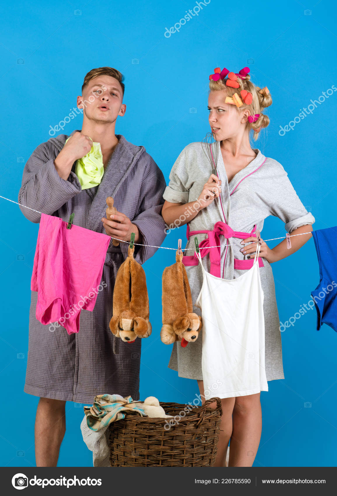 Vintage housekeeper woman. Man and woman. Love. Multitasking mom.  Performing Different Household