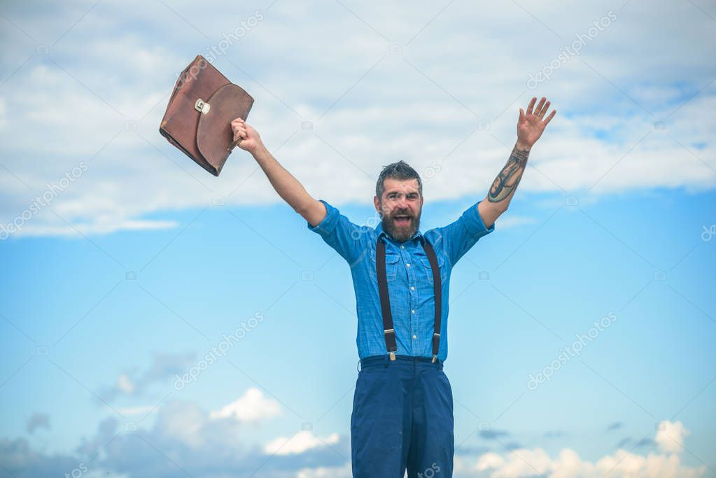 Brutal happy male. Vintage fashion bag. Bearded man. Mature hipster with beard. Bearded man with retro briefcase. Going to work. Businessman. Happy and successful manager. Confident in his choice