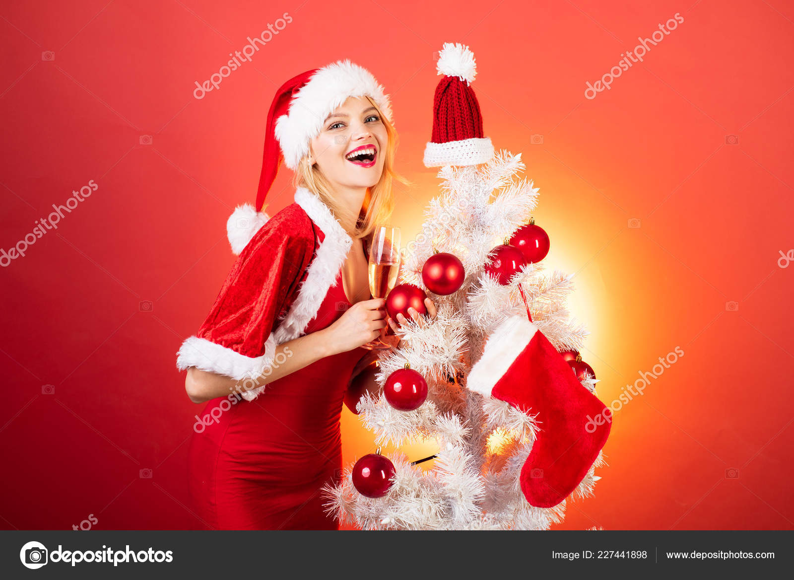 Merry christmas and Happy new year. Happy woman christmas. Smiling ...