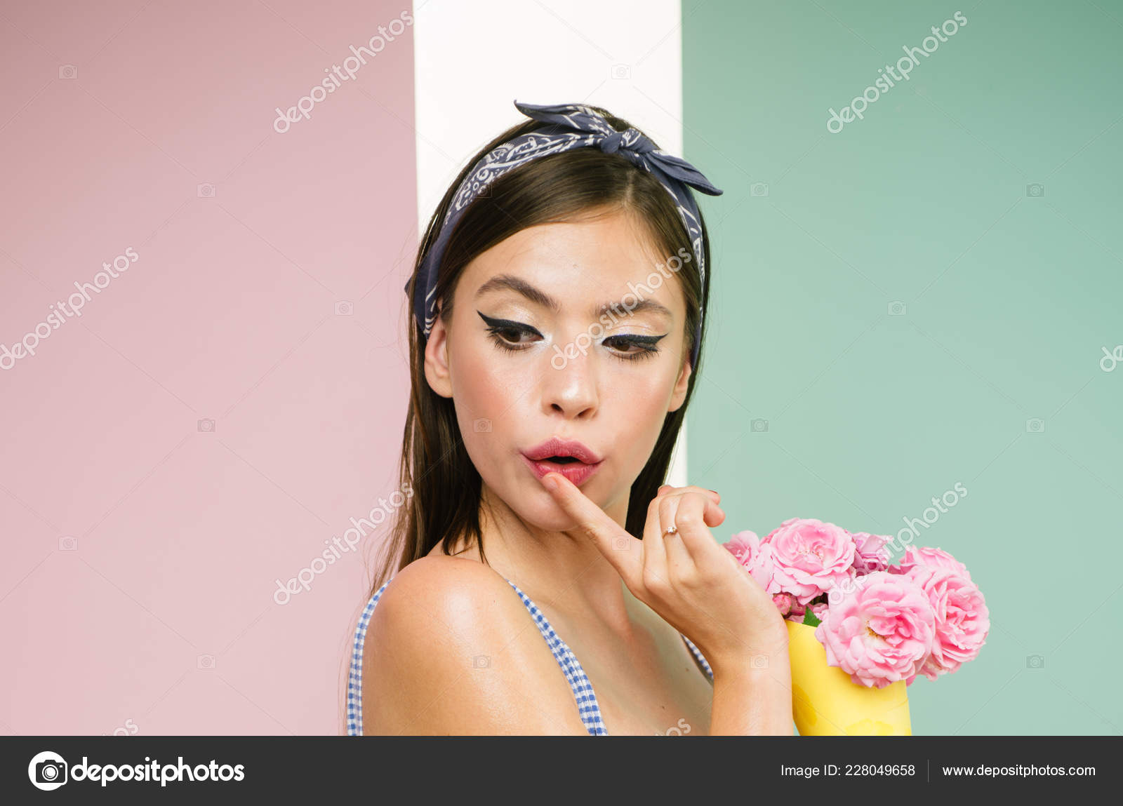 b64a5b43b6 pretty girl in vintage style. retro woman eating ice cream from flowers. pin  up woman with trendy makeup. ...