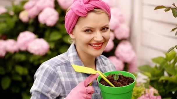 Šťastná žena, péče o květiny v zahradě. Výsadbou hrnce. Žena zahradnictví v květináčích. Péče o rostliny. Zahradnictví je více než koníček. Krásná žena v domácnosti s květinou v hrnci a zahradnické soubor