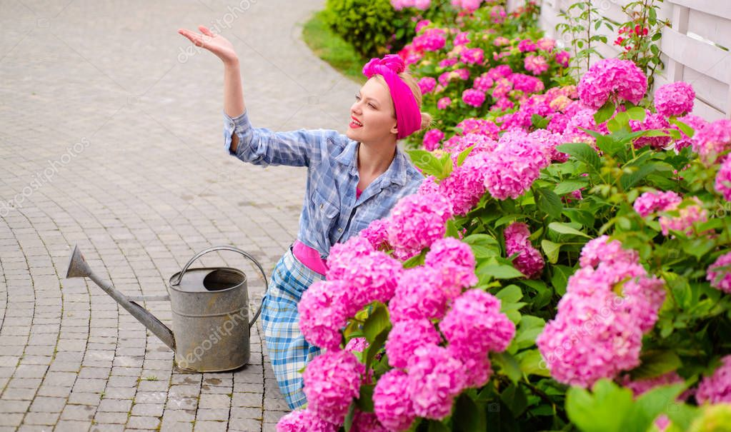 Greenhouse flowers. Flower care and watering. soils and fertilizers. woman care of flowers in garden. happy woman gardener with flowers. hydrangea. Spring and summer. Gardener