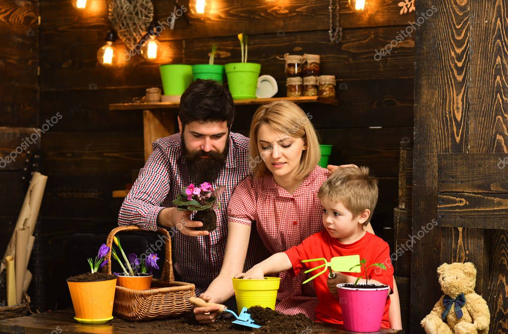 happy gardeners with spring flowers. Family day. Greenhouse. Flower care watering. Soil fertilizers. Father and son with mother. woman, man and little boy love nature. Working in green environment