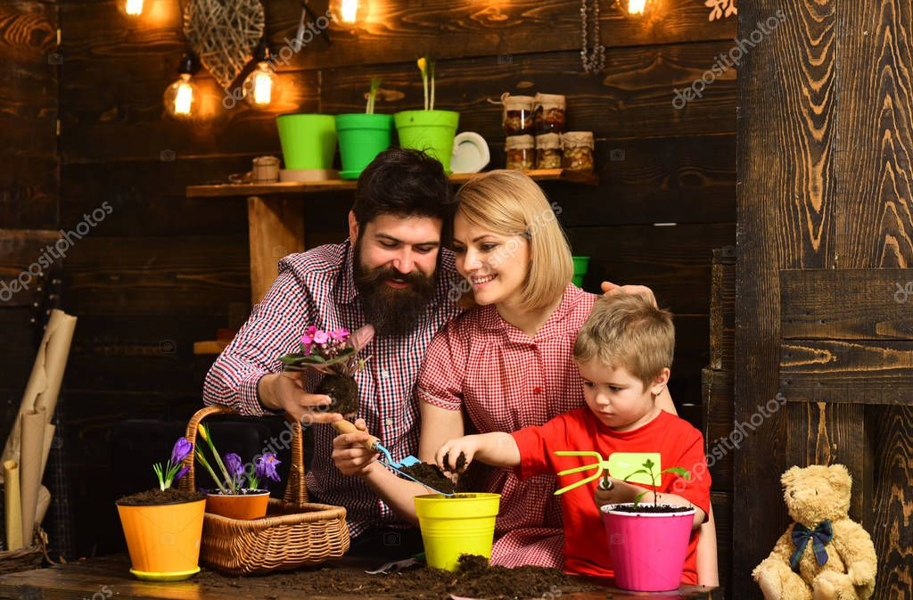 woman, man and little boy child love nature. Flower care watering. Soil fertilizers. Family day. Greenhouse. happy gardeners with spring flowers. Father and son with mother. Making the world green