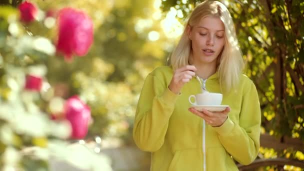 Morning coffee and nice day. Autumn woman. Coffee give you energy for day. Concept about morning coffee.