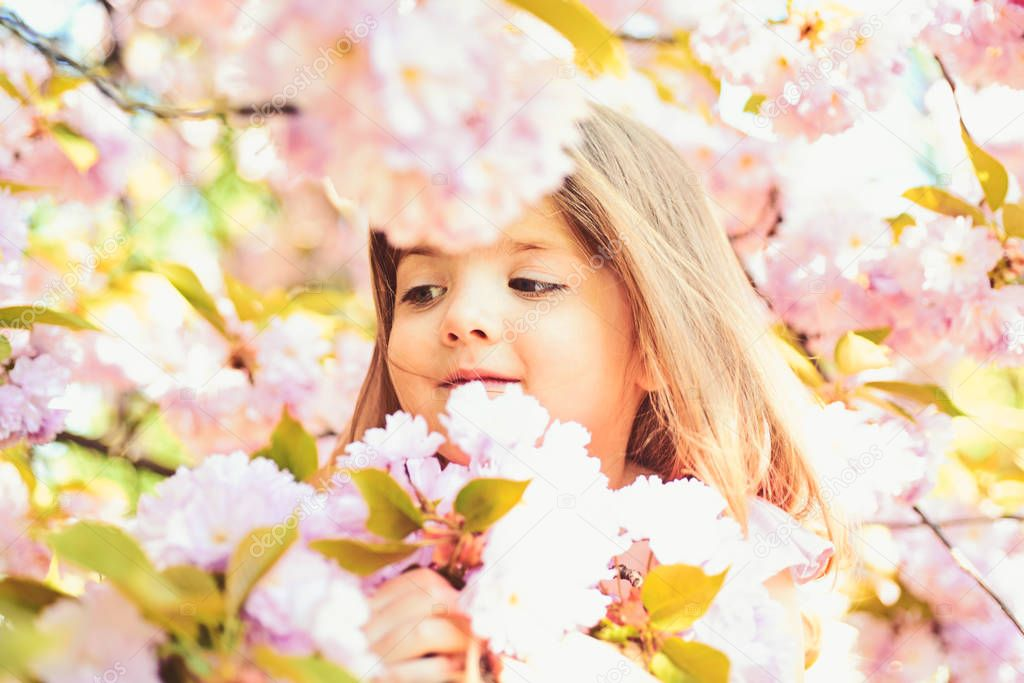 Wow. Springtime. weather forecast. face and skincare. allergy to flowers. Little girl in sunny spring. Small child. Natural beauty. Childrens day. Summer girl fashion. Happy childhood.