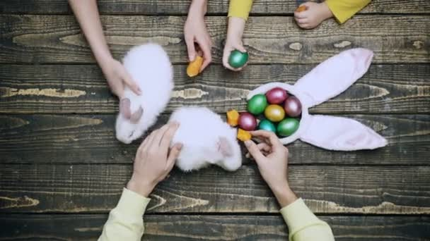 White rabbits eat carrots on a wooden table near Easter eggs. Happy family are preparing for Easter. Rabbits with Easter eggs on wooden background. Preparation for Easter holidays.