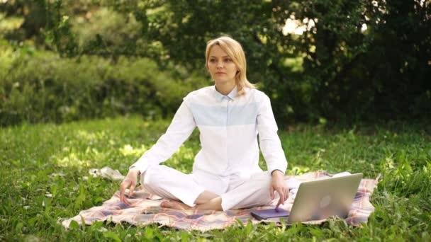Přírodní prostředí úřadu. Práce venku prospívá. Žena s přenosný počítač práce venku. Vzdělávací koncept technologie a internet. Dívka práce s přenosným počítačem v parku sedět na trávě.