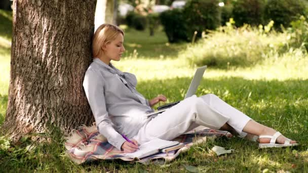 Education technology and internet concept. Natural environment office. Work outdoors benefits. Woman with laptop work outdoors lean tree. Minute for relax. Girl work with laptop in park sit on grass.