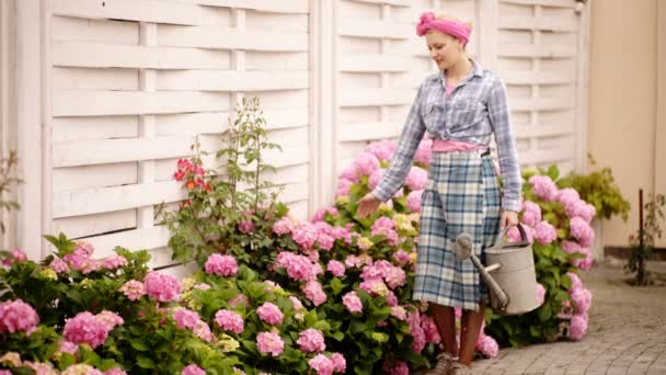 Cheerful Caucasian young woman is watering flowers. Outdoors, summertime. Watering blooming hydrangea from a watering can. Gardening and maintenance of nursery flowers.