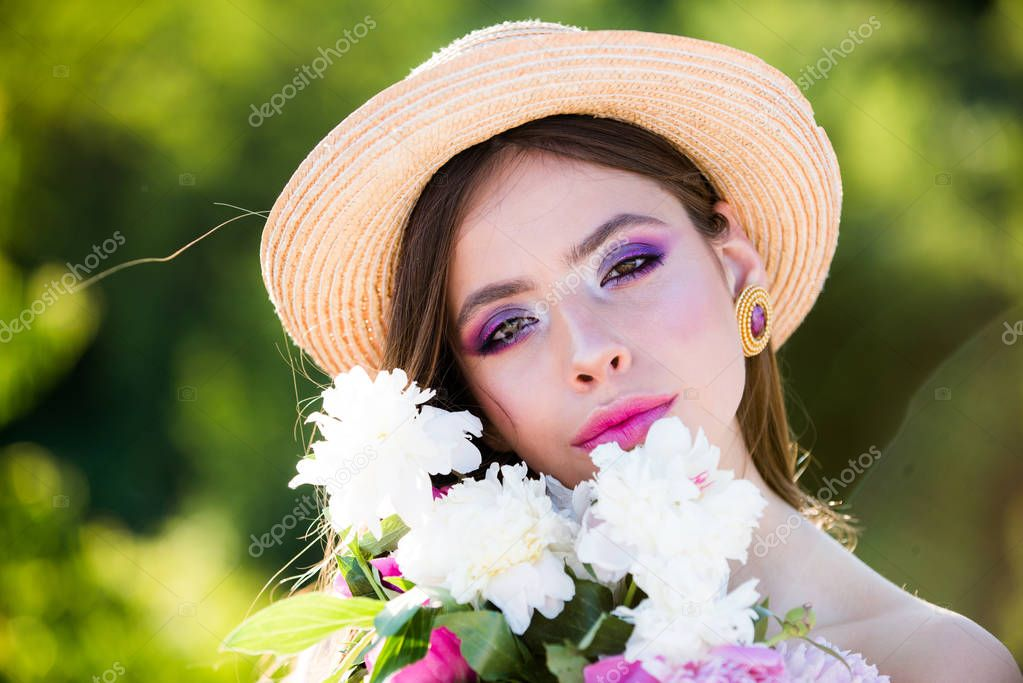 Wow. Summer girl with long hair. face and skincare. Travel in summer. Woman with fashion makeup. Natural beauty and spa therapy. Spring woman. Springtime and vacation