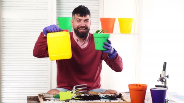 Man plant and fertilize sprouts in a pot. Concept of natural fertilizers for plant growth. Gardener holds a pot with a sprout in one hand, and in another capacity with fertilizers. Spring plants.