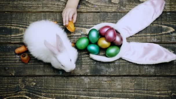 Felülnézete a fiú által egy fából készült asztal sárgarépa táplálja a húsvéti nyuszi. Előkészítése a húsvéti ünnep. Húsvéti tojás fa háttér. Kellemes húsvéti ünnepeket.