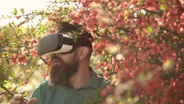 Man with beard wear VR glasses on sunny outdoor. Bearded man with gadget travel in summer flower garden. Hipster with mobile headset on play fresh air. Virtual reality and gaming. New technology
