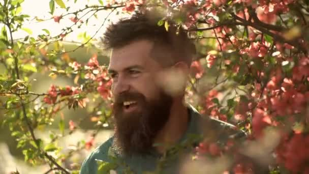 Harmony concept. Bearded man with stylish haircut with red flowers on background. Hipster in green shirt near branches of red flower tree. Man with beard and mustache on smiling face near flowers.