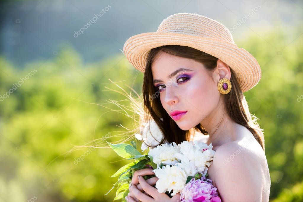 Summer girl with long hair. face and skincare. Travel in summer. Woman with fashion makeup. Natural beauty and spa therapy. Spring woman. Springtime and vacation. Natural background