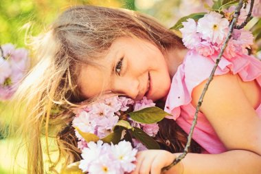 Small child. Natural beauty. Childrens day. Summer girl fashion. Happy childhood. face and skincare. allergy to flowers. Springtime. weather forecast. Little girl in sunny spring. Summer collection