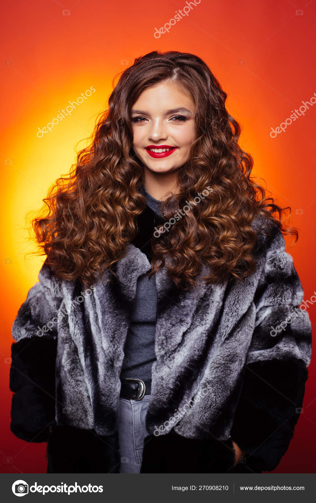 Curly Headed Teenager Teenage Girl With Stylish Wavy Hairstyle Pretty Girl With Curly Hairstyle Young Woman With Long Locks Of Hair Healthy Hair Care Habits Hair Styling In Beauty Salon Stock