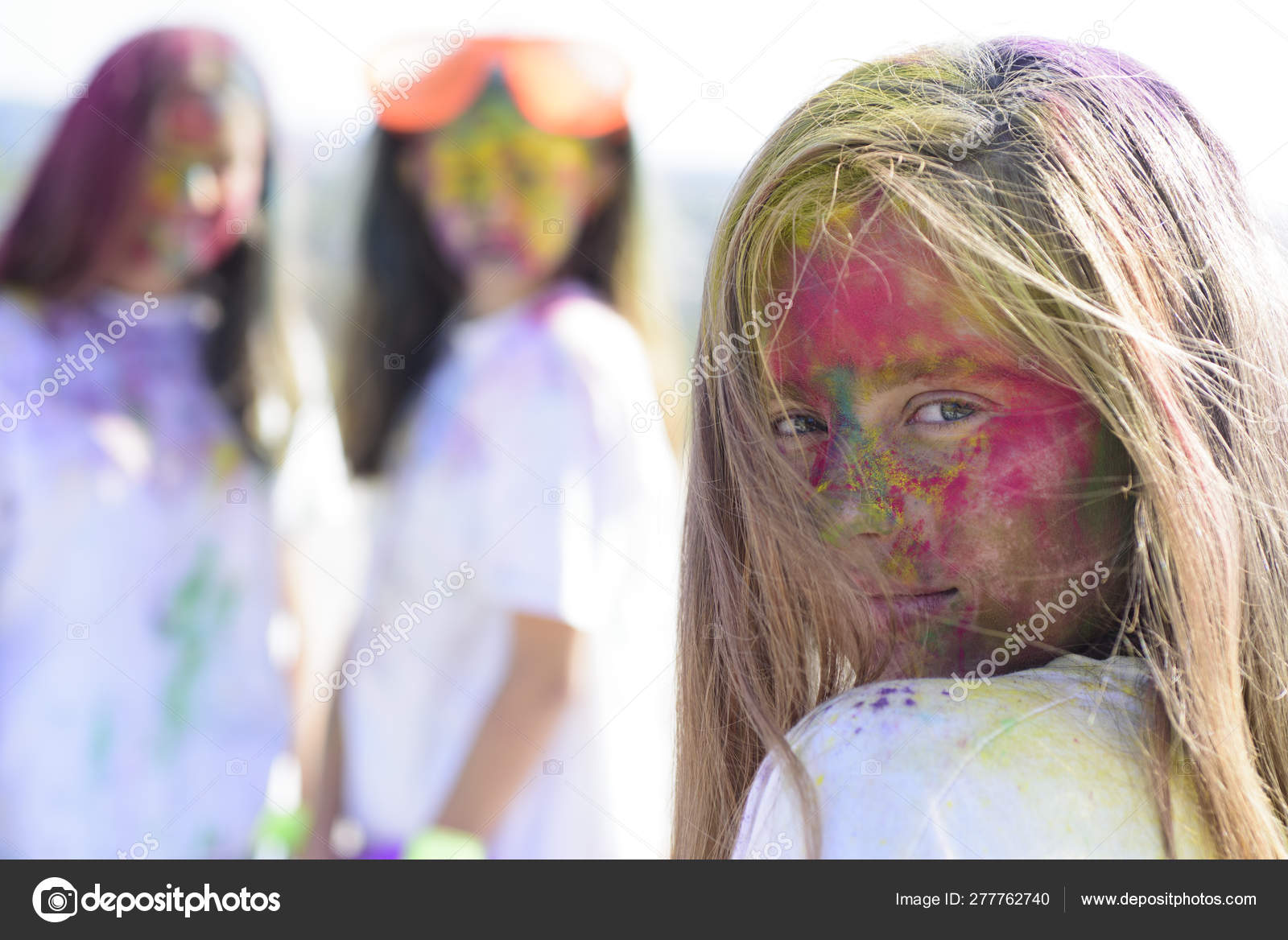 Positive And Cheerful Colorful Neon Paint Makeup Children