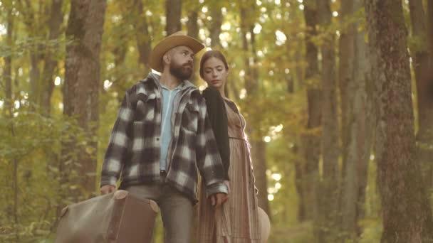 Autumn couple. Romantic portrait of a sensual couple in love. Portrait couple in love. Love story.