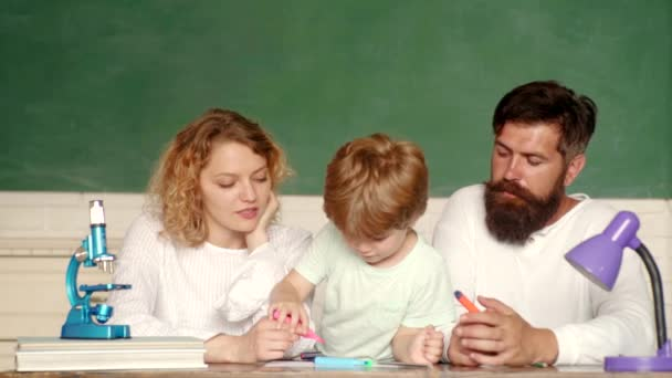 School concept. Parent taking child to school. Family school partnership. Home Family math schooling - Parents teaching kids private lessons in math. Family school partnerships examples.