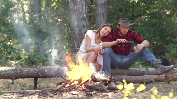 Camp adventure and travel concept. Company friends enjoy relaxing together in forest. Good day for spring picnic in nature. Friendship and leisure concept.