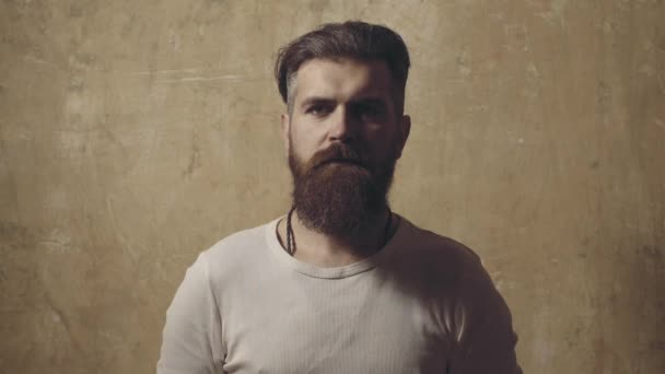 Morning bearded man with long beard and mustache. Hair Stylist and Barber. Portrait of stylish man beard.