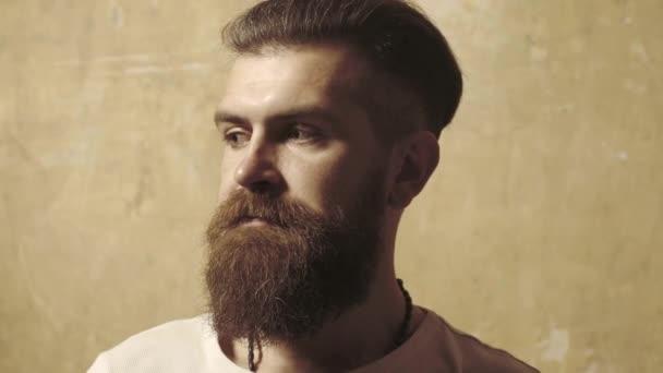 Muž s dlouhými vousy a knírem. Vousatý muž hipster.