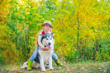 Funny little hugging cute dog pet. Dog friendly. Beautiful child girl playing with her dog. Autumn.