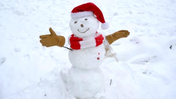 Boldog vicces hóembert a hóban. A hóember és a tél szórakoztatóvá tétele.