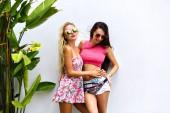 Nyári szabadtéri nyaralás portréja két lenyűgöző legjobb meg lányok
