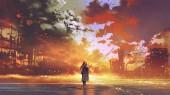 Fotografia donna in piedi sul mare guardando lincendio della città, stile di arte digitale, illustrazione pittura