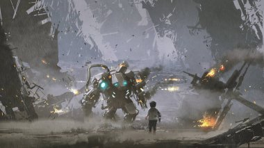 scene of the boy looking at the damaged robot who protected him from the war, digital art style, illustration painting