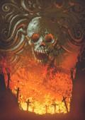 Fotografia burning graveyard in the skull cave, digital art style, illustration painting