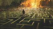 Fotografie zničil bludiště pojetí ukazuje, muž, který stojí v spálené labyrint půdy, styl digitální umění, ilustrace, malba