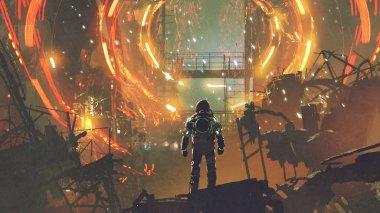 sci-fi scene of the astronaut looking at the futuristic portal, digital art style, illustration painting