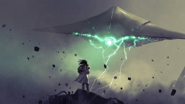 sci-fi scene of young mother carrying her baby looking at the spaceship in the sky, digital art style, illustration painting