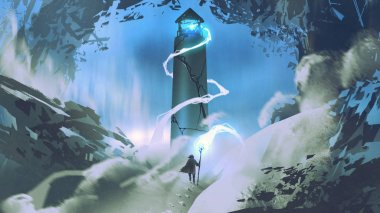 the man with wizard staff lighting the lighthouse with his magic, digital art style, illustration painting