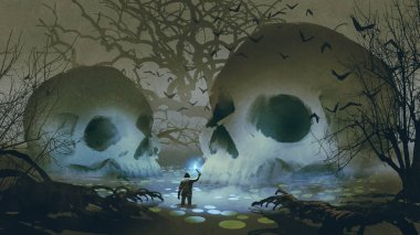 man with a magic torch walking in the haunted swamp, digital art style, illustration painting