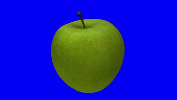 Realistic render of a rotating green Granny Smith apple on blue background. The video is seamlessly looping, and the 3D object is scanned from a real apple.
