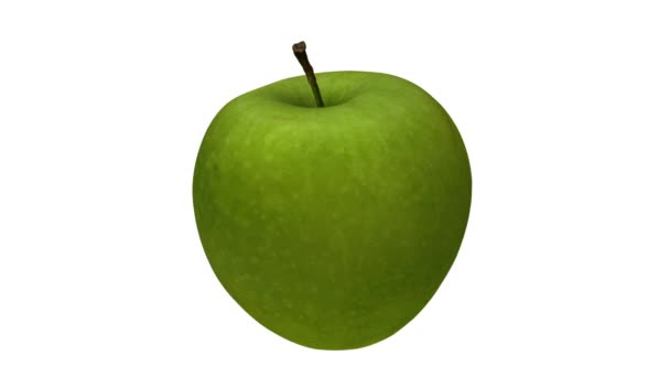 Realistic render of a rotating green Granny Smith apple on white background. The video is seamlessly looping, and the 3D object is scanned from a real apple.
