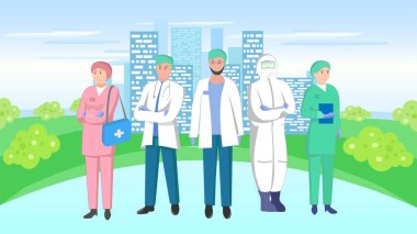Vector illustration of a medical team on a city background stock vector