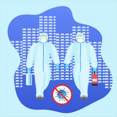 Vector illustration of a group of medical workers in protective anti-virus suits stock vector