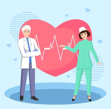 Vector illustration of a medical team and a heart stock vector